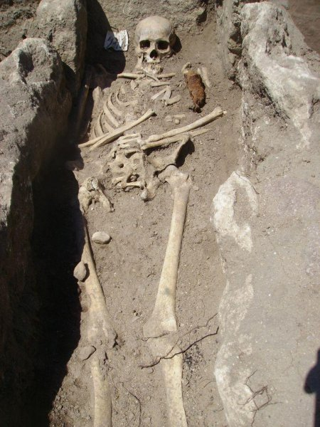 Skeleton with iron rod. Credit: National History Museum, Bulgaria.
