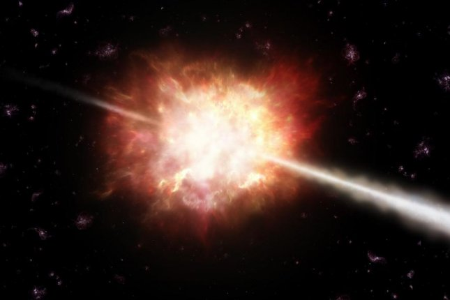 Researchers determined the photons released by gamma-ray bursts come from the relativistic jet's photosphere. Photo by Wikimedia Commons