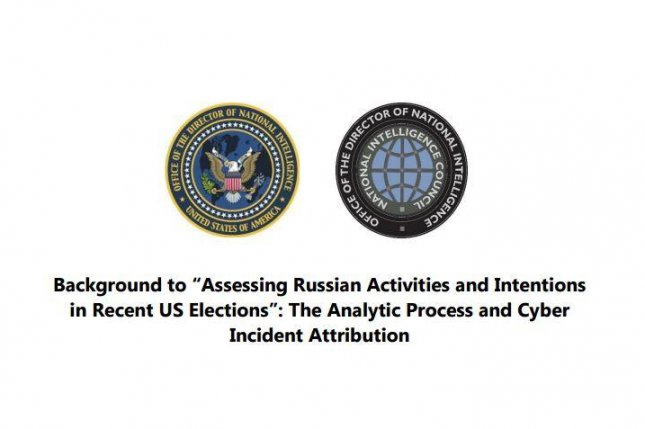 A 25-page declassified intelligence report, released Friday, concluded that Russian President Vladimir Putin directly ordered interference efforts in an attempt to elect Donald Trump -- and denigrate Democratic nominee Hillary Clinton. The report said the CIA and FBI have high confidence in the conclusions. Image courtesy Office of the Director of National Intelligence
