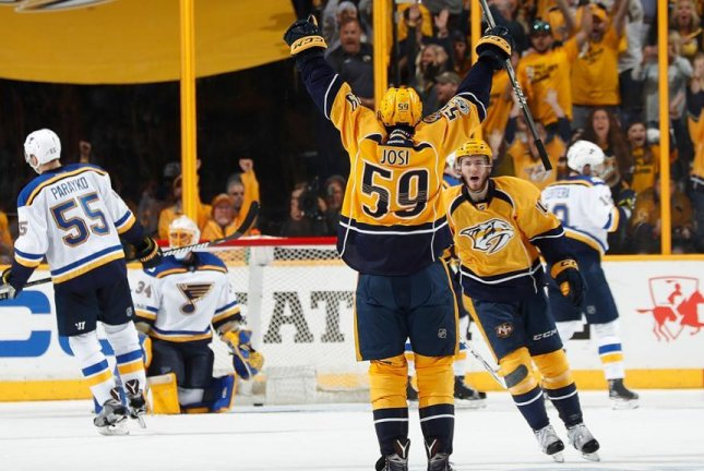 Nashville took a 2-1 series lead after being St. Louis 3-1 on Sunday. Photo courtesy Nashville Predators via Twitter.