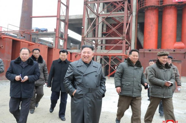 A photo released by KCNA on Tuesday shows North Korean leader Kim Jong Un visiting the Sunchon Phosphate Fertilizer Factory under construction in Sunchon, north of the capital Pyongyang, North Korea. Photo by KCNA/EPA-EFE