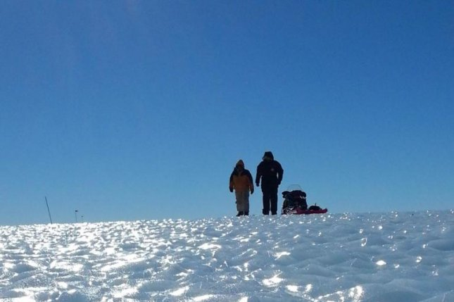 Researchers collected ancient ice samples from a blue ice area in Western Antarctica's Patriot Hills. Photo by Chris Turney
