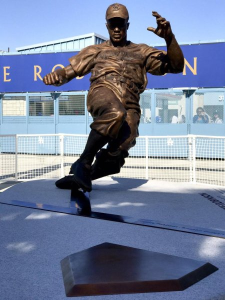 The Dodgers unveiled a statue of Jackie Robinson on the 70th anniversary of his debut with the team. Photo courtesy Los Angeles Dodgers via Twitter.