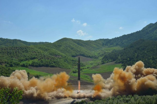 A North Korean inter-continental ballistic Hwasong-14 rocket is launched in North Korea on July 4. Officials in Japan and at the Pentagon said North Korea test-fired another missile Friday. Photo by KCNA/EPA