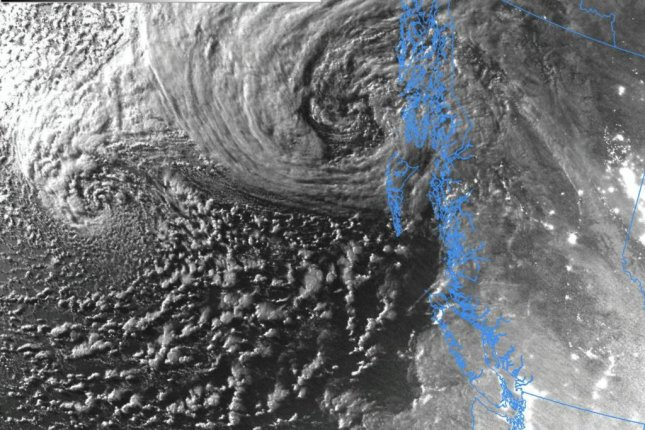 Moonlight reflects on the low-pressure systems swirling off the coast of Washington state in an image from the Suomi NPP Polar orbiting satellite on Tuesday. Photo courtesy of National Weather Service Seattle/Twitter