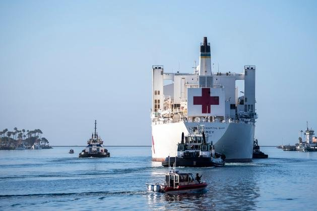 The hospital ship USNS Mercy left Los Angeles on Friday, after serving as a relief valve for local hospitals dealing with the COVID-19 pandemic. Photo by MCS2 Ryan W. Breeden/U.S. Navy/UPI