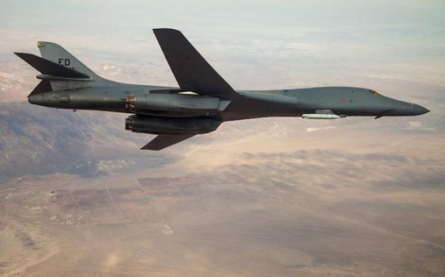 The U.S. Air Force announced the successful test of an externally mounted missile on a B-1-B lancer, indicating the plane is capable of carrying hypersonic missiles. Photo by Ethan Wagner/U.S. Air Force