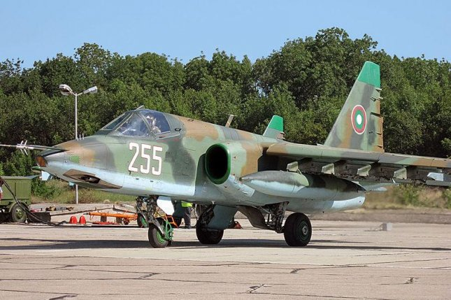 An Su-25 flown by the Bulgarian Air Force in 2013. Photo by Kasimir Grozev/Wikimedia Commons