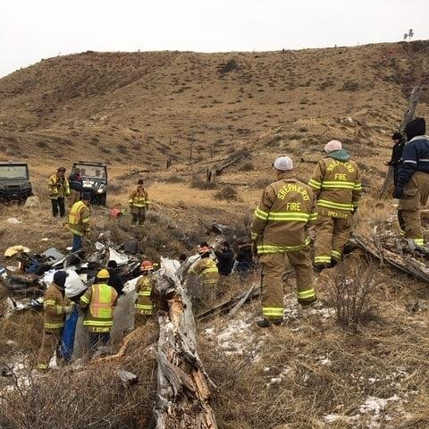 First responders at the crash site of a Cessna plane that crashed over the weekend near Billings, Mont. Photo courtesy of Yellowstone County Sheriff's Office/Facebook