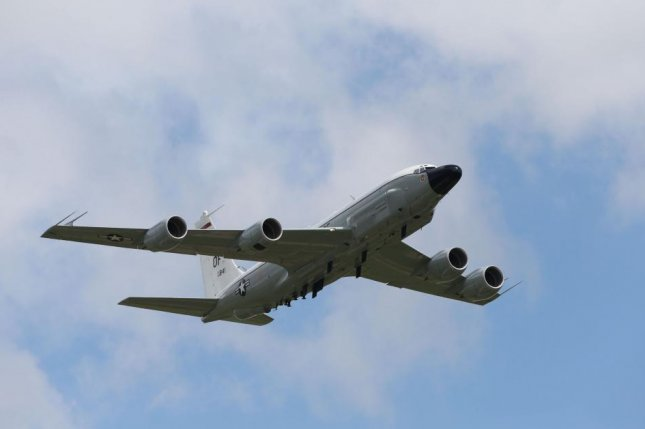 Aircraft Spot, an aviation tracker, published data of the movements of the RC-135W, or Rivet Joint, on Tuesday. File Photo by Lindsey Parnaby/EPA