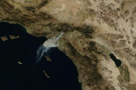 The Colby wildfire from above, on the morning of Jan. 16, 2014. (NASA/MODIS)