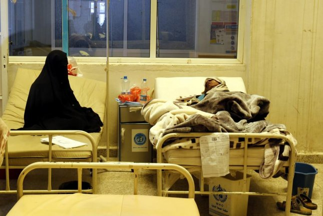 Cholera-infected Yemenis receive treatment amid an outbreak in Sana'a, Yemen. Humanitarian organizations warned this week an acute cholera outbreak in Yemen has claimed the lives of nearly 1,900 people since April. File Photo by EPA/Yahya Arhab