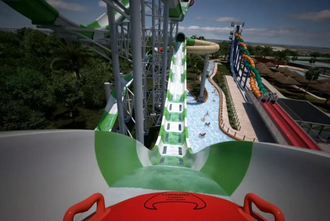 A simulation of a ride on Schlitterbahn Galveston Island's new water coaster, Massiv. Screenshot: Schlitterbahn Waterparks and Resorts/YouTube
