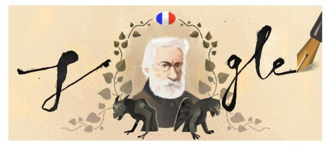 Google is paying homage to author and human rights activist Victor Hugo with a new Doodle. Image courtesy of Google