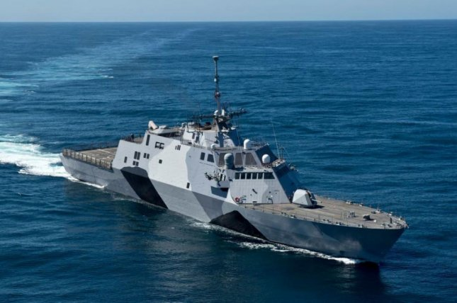The littoral combat ship USS Freedom, seen here, is the sister ship of the future USS Minneapolis-St. Paul, which will be christened in ceremonies on Saturday. Photo by MCS1 James Evens/U.S. Navy/UPI