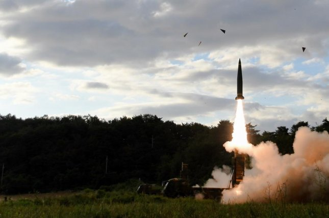 A Hyunmoo-II missile is launched into the East Sea, or Sea of Japan, on Sept. 15. The weapon is included in a new military plan to combat North Korea in the event of war, the South's military says. File Photo by Yonhap