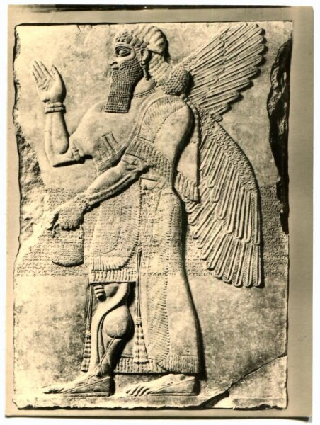 An antique photo at the Vorderasiatisches Museum in Berlin shows palace reliefs of Assurnasirpal II and Ivory Carvings from Nimrud. Photo by IgorGolovniov/Shutterstock