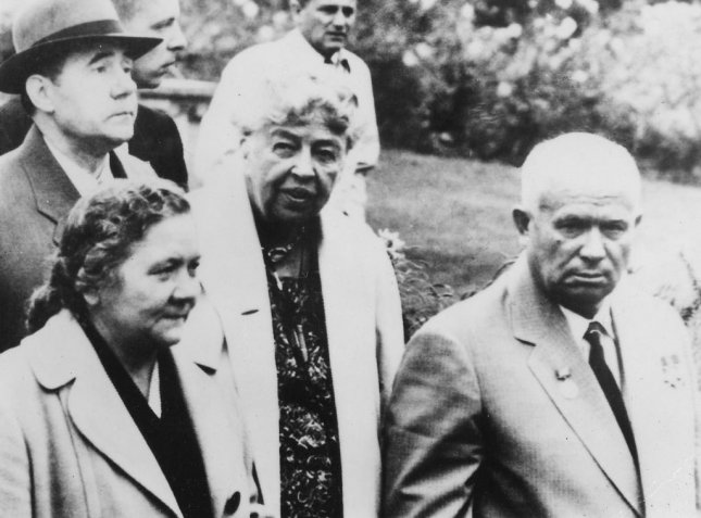 Eleanor Roosevelt (C), Nikita Khrushchev and his wife Nina, and Andrei Gromyko at the Franklin D. Roosevelt Library in Hyde Park on September, 18 1959. Photo courtesy of National Archives and Records Administration