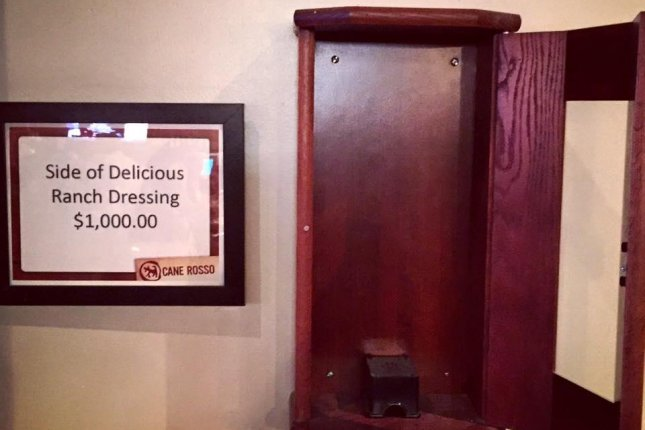 The wooden case that formerly held the $1,000 bottle of Hidden Valley Ranch Dressing. Photo by Cane Rosso/Facebook