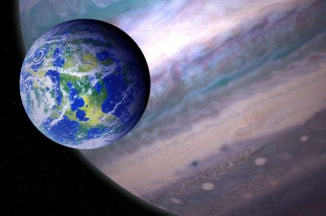 An artistic rendering shows a habitable exomoon circling a gas giant. Photo by NASA/GSFC/Jay Friedlander/Britt Griswold