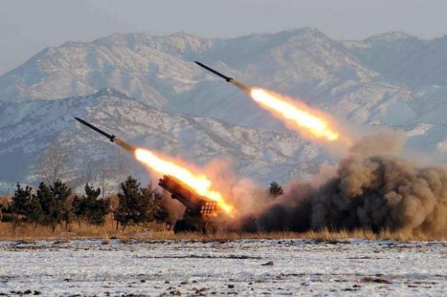 North Korea test fires missiles into the Yellow Sea in this photo published in 2009. Pyongyang has installed four 122-mm multiple rocket launchers on the secluded North Korean island of Gal, according to Seoul. File Photo by Yonhap