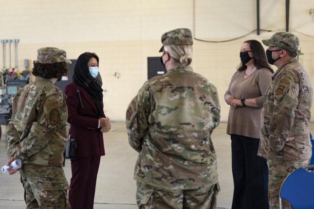 H.E. Roya Rahmani, second from left, Embassy of Afghanistan ambassador to the United States, speaks with Airmen assigned to the 23d Wing before a graduation ceremony Friday at Moody Air Force Base in Georgia. Photo by Taryn Butler/U.S. Air Force