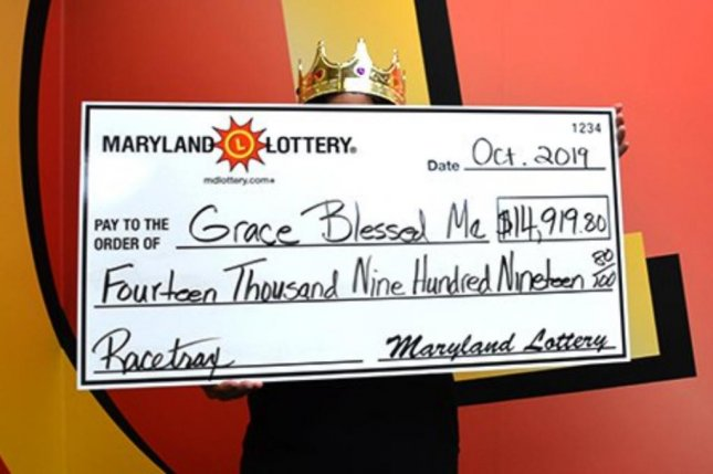 A Maryland woman's $14,919.80 prize from the lottery's Racetrax game is her third major jackpot from the game. Photo courtesy of the Maryland Lottery