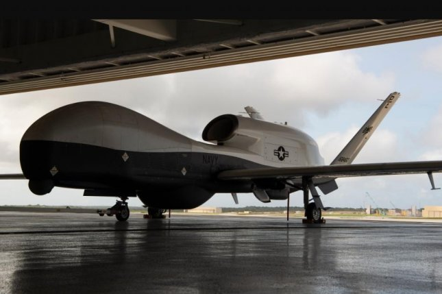 The first two MQ-4C Triton unmanned aerial drones arrived at Andersen Air Force Base, Guam, on Monday, the U.S. Navy announced. Photo by Senior Airman Ryan Brooks, U.S. Air Force/UPI