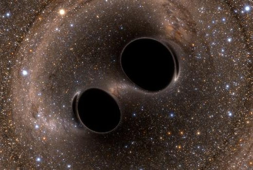 A pair of L-shaped antennas have recorded the massive gravitational waves created by the ancient collision of two black holes. Photo by LIGO/Caltech