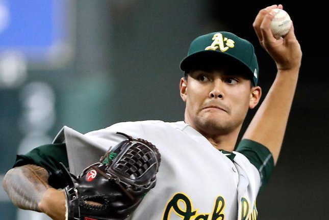 Sean Manaea (8-5) pitched seven strong innings, allowing two runs and five hits while striking out eight and walking three. Photo courtesy of Oakland Athletics/Twitter