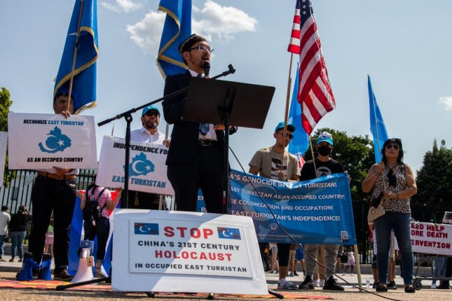 Salih Hudayar, prime minister of the self-proclaimed East Turkistan Government-in-Exile, speaks on Friday in Washington, D.C., to urge the U.S. government to take action. Photo by Hazel Tang/Medill News Service