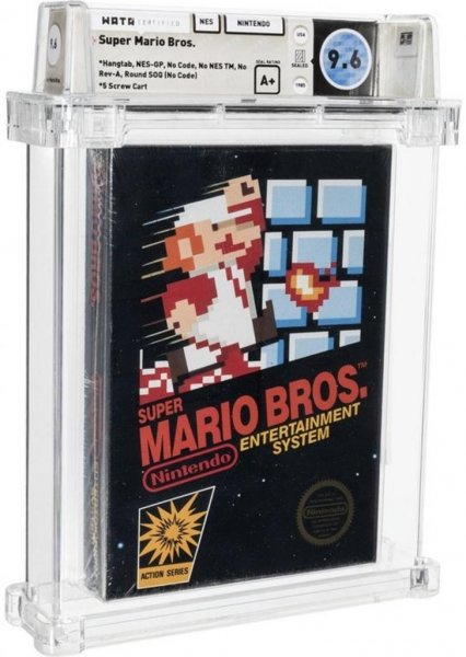 A copy of Super Mario Bros. for the Nintendo Entertainment System was auctioned for $660,000, the highest price ever paid for a video game. Photo courtesy of Heritage Auctions