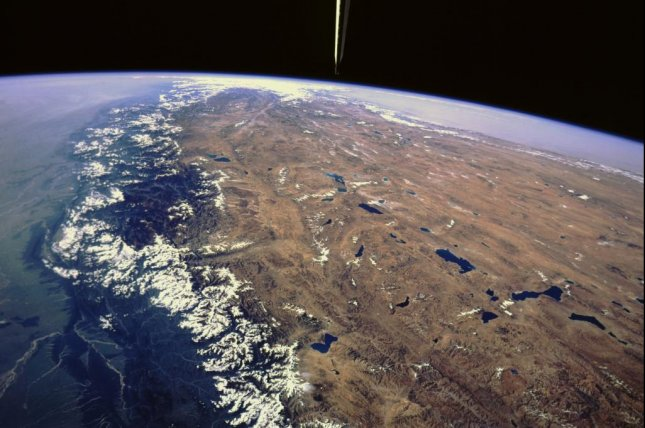 The Tibetan Plateau as pictured from Space Shuttle Challenger in 1984. Photo by NASA