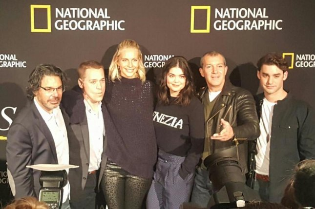 From left to right, Kenneth Biller, T.R. Knight, Poppy Delevigne, Samantha Colley, Antonio Banderas and Alex Rich star in a new National Geographic series Genius: Picasso. Photo by Karen Butler/UPI