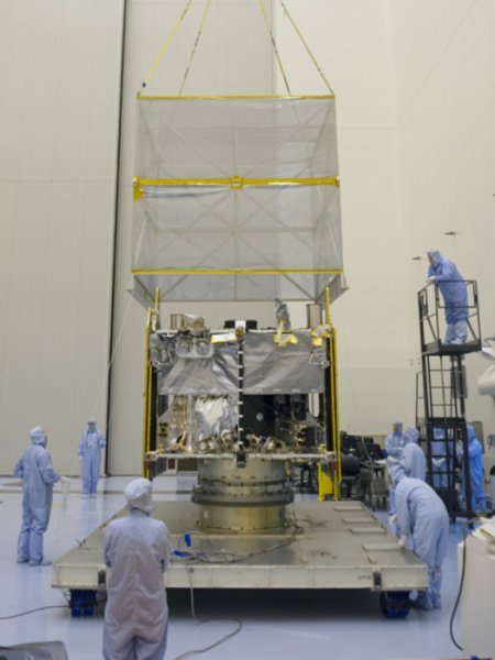 NASA's Mars Atmosphere and Volatiles Evolution (MAVEN) spacecraft is seen inside the Kennedy' Space Center's Payload Hazardous Servicing Facility on Aug. 3. Credit: NASA