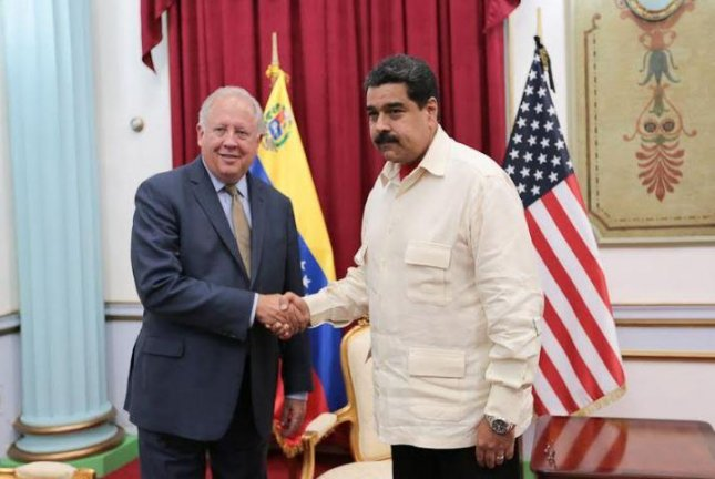 U.S. Under Secretary of State for Political Affairs Thomas A. Shannon, Jr. (left) met with Venezuelan President Nicolas Maduro on Monday in Caracas. Shannon was sent to Venezuela to help mediate negotiations between Maduro's regime and the Venezuelan opposition. Photo courtesy U.S. Department of State