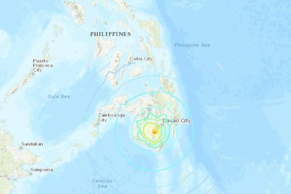 The Philippines was struck by a 6.8 magnitude earthquake on Sunday. Image courtesy U.S. Geological Survey