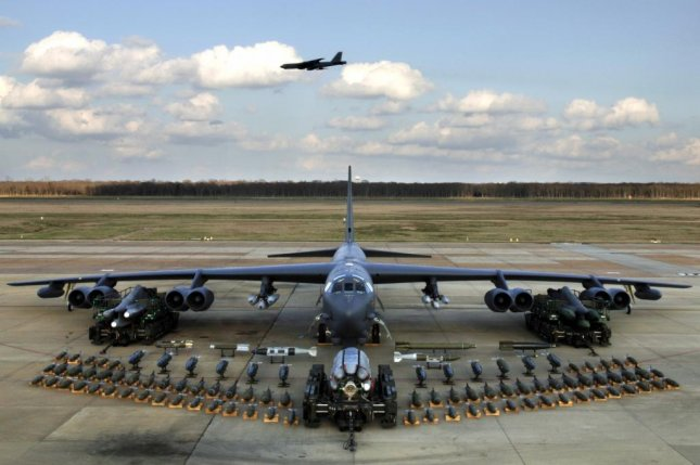 A B-52 bomber with its conventional weapons. The Air Force stripped nuclear capabilities from some 30 B-52 bombers. USAF Photo
