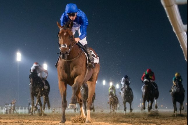Banbatl wins Thursday's Maktoum Challenge Round 2 at Meydan in his first race on dirt. Photo by Erika Rasmussen, courtesy of Dubai Racing Club