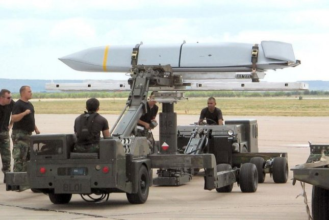 Technicians at Dyess AFB, Texas, prepare a Joint Air-to-Surface Standoff Missile for installation. Photo courtesy of U.S. Air Force