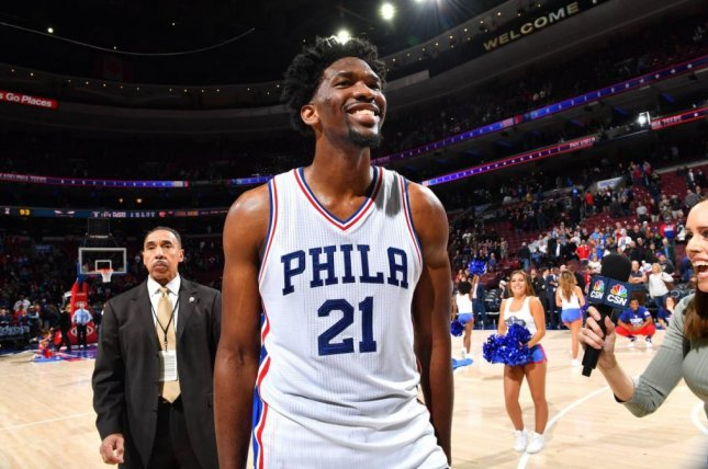 Philadelphia center Joel Embiid and the 76ers on Monday agreed to a five-year, $148 million contract extension -- the maximum permitted by the NBA's rookie wage scale. Photo courtesy of Philadelphia 76ers/Twitter