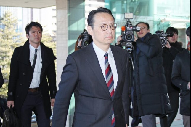 Kenji Kanasugi, director general of Asia and Oceania affairs at Japan's foreign ministry, arrives at the foreign ministry building in Seoul on Dec. 24, 2018, for talks with South Korean officials. The talks are the first since bilateral relations turned tense following the South Korean Supreme Court's recent rulings ordering two Japanese firms to compensate Koreans they mobilized as forced laborers. Photo by Yonhap