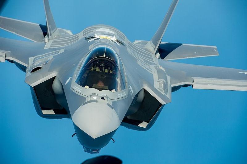 An F-35 approaches an aerial refueling aircraft. U.S. Air Force photo.