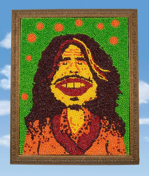 A portrait of Aerosmith singer Steven Tyler, made entirely out of Skittles, has been placed for auction on eBay. The portrait is a replica of the one that appeared in Skittles' commercial during Super Bowl 50. Proceeds from the sale will benefit Tyler's youth charity. Photo by auctioncause/eBay