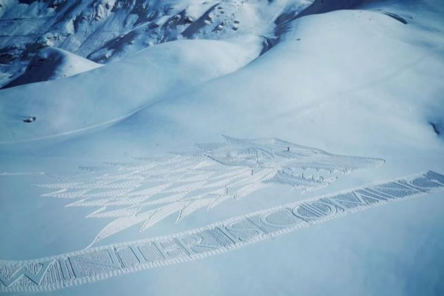 Simon beck spent 13 hours creating this Game of Thrones tribute in the French Alps. Screenshot: Sky Atlantic/YouTube