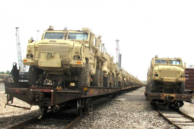The first shipment of U.S. Mine Resistant Ambush Protected vehicles arrived in Egypt Thursday, under the Excess Defense Articles program, the U.S. Embassy in Cairo said. Photo courtesy U.S. Embassy in Egypt