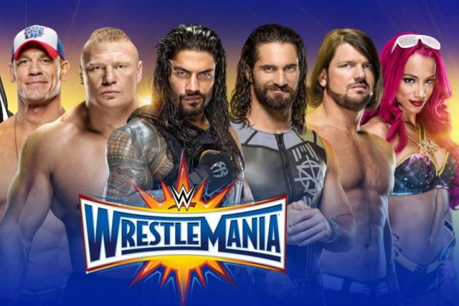 WWE stars (Left to Right) John Cena, Brock Lesnar, Roman Reigns, Seth Rollins, AJ Styles and Sasha Banks will compete at WrestleMania 33. Photo courtesy of WWE/Twitter