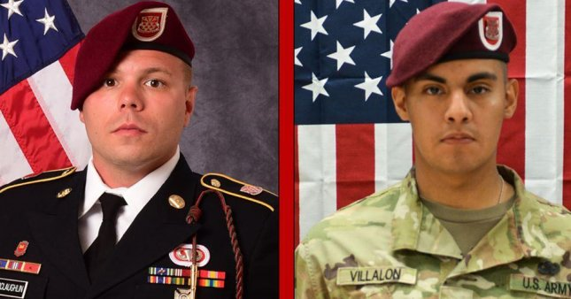 Pfc. Miguel A. Villalon, 21, and Staff Sgt. Ian P. McLaughlin, 29, were killed Saturday when their vehicle was struck by an improvised explosive device in Kandahar Province, Afghanistan. Photo courtesy of 3rd Brigade Combat Team, 82nd Airborne Division/Facebook