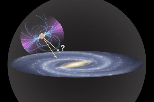 An illustration depicts the competing pull of dark matter and ordinary matter on a distant neutron star. Photo by Norbert Wex, with Milky Way Image by R. Hurt (SSC), JPL-Caltech, NASA and pulsar image by NASA
