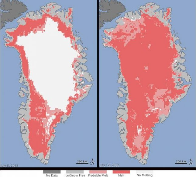 Extent of surface melt over Greenland's ice sheet on July 8 (left) and July 12 (right). Areas classified as probable melt (light pink) correspond to sites where at least one satellite detected surface melting. Areas classified as melt (dark pink) correspond to sites where two or three satellites detected surface melting. Credit: Nicolo E. DiGirolamo, SSAI/NASA GSFC, and Jesse Allen, NASA Earth Observatory